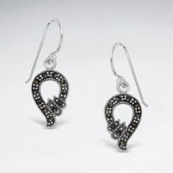 Sterling Silver Openwork Marcasite Hook Earrings
