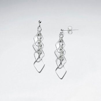 Sterling Silver Openwork Marquis Cascade Dangle Earrings