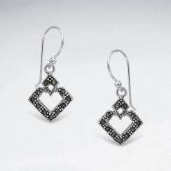 Sterling Silver Openwork Marquis Marcasite Earrings