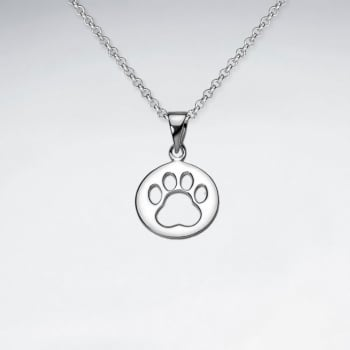 Sterling Silver Openwork Paw Print Pendant