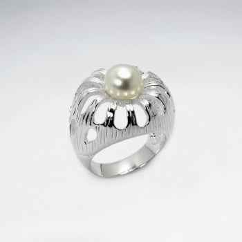 Sterling Silver Openwork Pearl Studded Ring