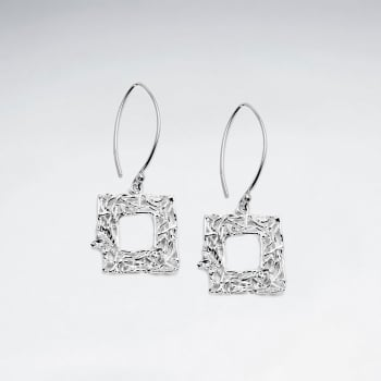 Sterling Silver Openwork Square CZ Studded Earrings