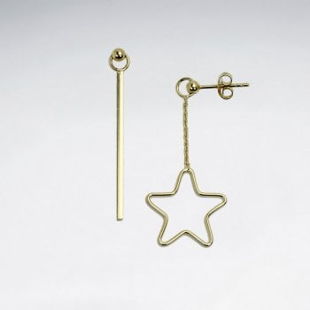 Sterling Silver Openwork Star Dangle Stud Earrings