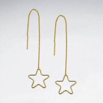 Sterling Silver Openwork Star Threader Earrings