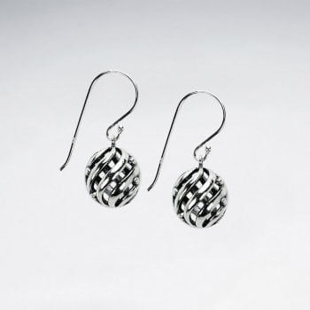Sterling Silver Openwork Swirl Three-Dimensional Ball Earrings