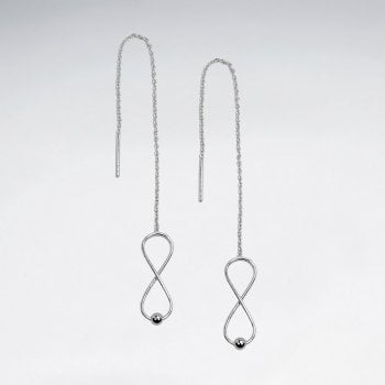 Sterling Silver Openwork Threader Infinity Chain Earrings