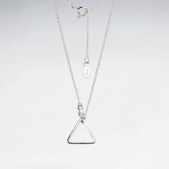 Sterling Silver Openwork Triangle CZ Pendant Necklace