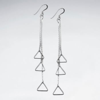 Sterling Silver Openwork triangles Cascade Earrings