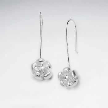 Sterling Silver Organic Floral Inspired Drop Earrings