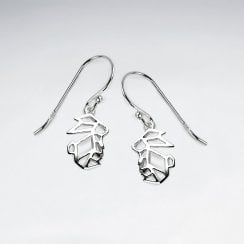 Sterling Silver Origami Bunny Dangle Earrings