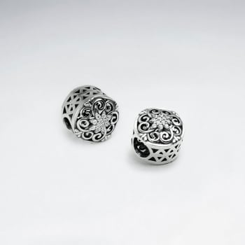 Sterling Silver Ornate Filigree CZ Beads
