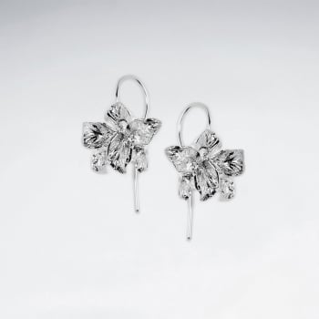 Sterling Silver Ornate Flower Blossom Earrings