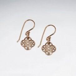 Sterling Silver Ornate Openwork Quatrefoil Earrings