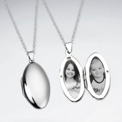 Sterling Silver Oval Locket Pendant