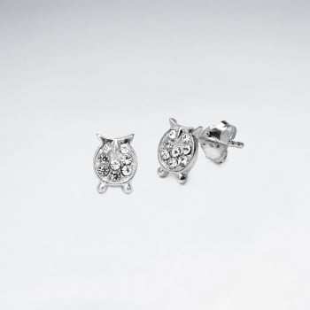 Sterling Silver Owl With Crystal Stud Earrings