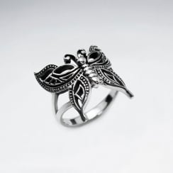 Sterling Silver Oxidized Butterfly Design Ring