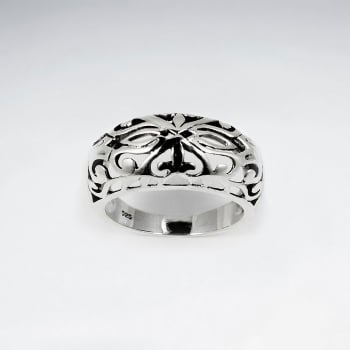 Sterling Silver Oxidized Filigree Design Ring