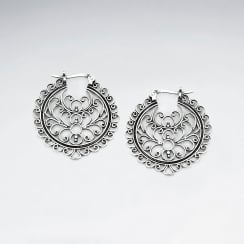 Sterling Silver Oxidized Filigree Earrings