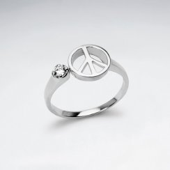 Sterling Silver Peace Sign Cubic Zirconia Ring