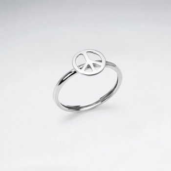 Sterling Silver Peace Sign Cutout Ring