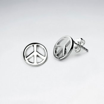 w sign peace gold stud earrings white diamond