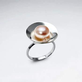 Sterling Silver Pearl Circle Ring