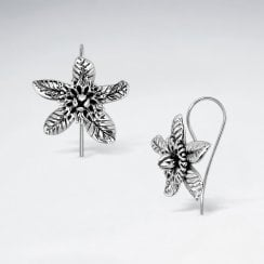 Sterling Silver Pentas Star Flower Hook Earrings