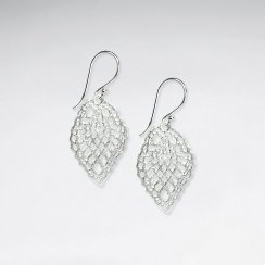 Sterling Silver Perforated Diamond Shape Dangle Hook Earrings
