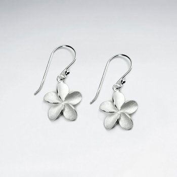 Sterling Silver Plumeria Flower Dangle Earrings