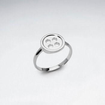Sterling Silver Polished Button Ring