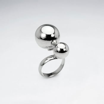 Sterling Silver Polished Double Ball Design Ring