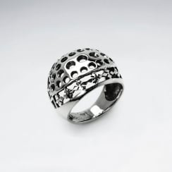 Sterling Silver Punctured Pattern Statement Ring