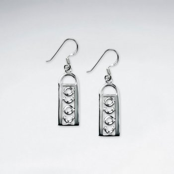 Sterling Silver Rectangle Dangle Earrings
