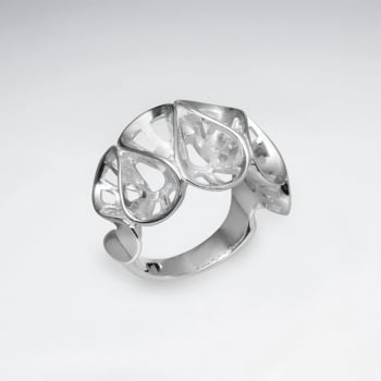 Sterling Silver Ribbons Style Ring