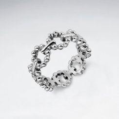 Sterling Silver Rope Chain Linked Ring