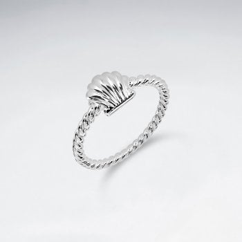 Sterling Silver Rope Twist Seashell Ring