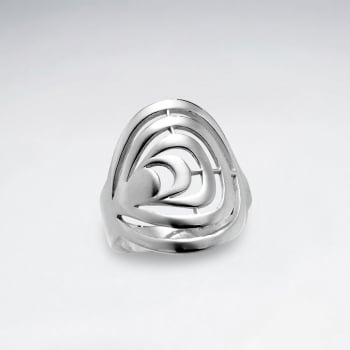 Sterling Silver Round Open Cut Out Design Ring