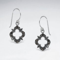 Sterling Silver Scalloped Openwork Marcasite Earrings
