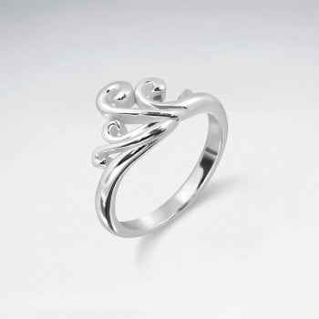 Sterling Silver Scroll Wave Ring