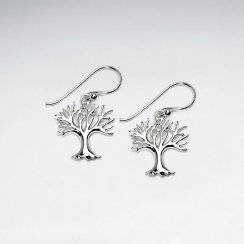 Sterling Silver Seasons Tree Dangle Earrings