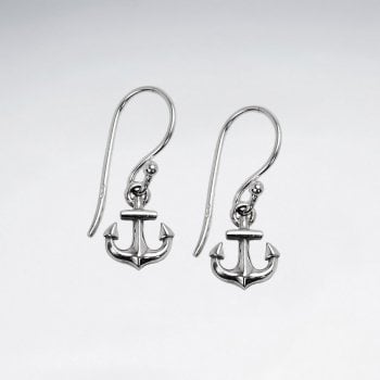 Sterling Silver Ship's Anchor Dangle Earrings