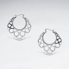Sterling Silver Simple Bali Scalloped Earrings