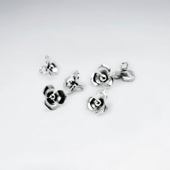 sterling Silver Single Rose Beads Pack Of 50 Pieces