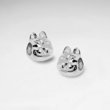 Sterling Silver Sly Cat Beads