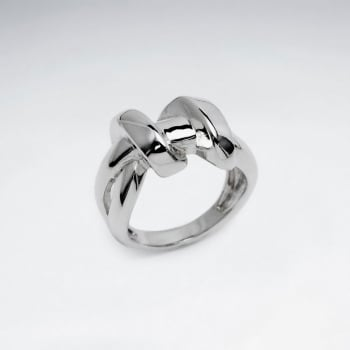 Sterling Silver Smooth Lines With Twist Ring