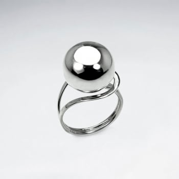 Sterling Silver Smooth Single Ball Design Ring