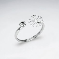 Sterling Silver Snowflake Crystal Ring