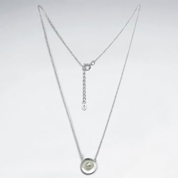 Sterling Silver Solid Circle Pendant with Pearl Center