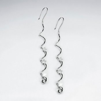 Sterling Silver Spiral Twist Drop Earrings