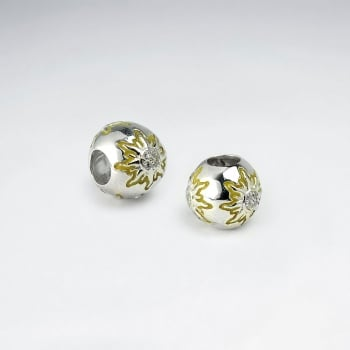 Sterling Silver Star Burst CZ Beads